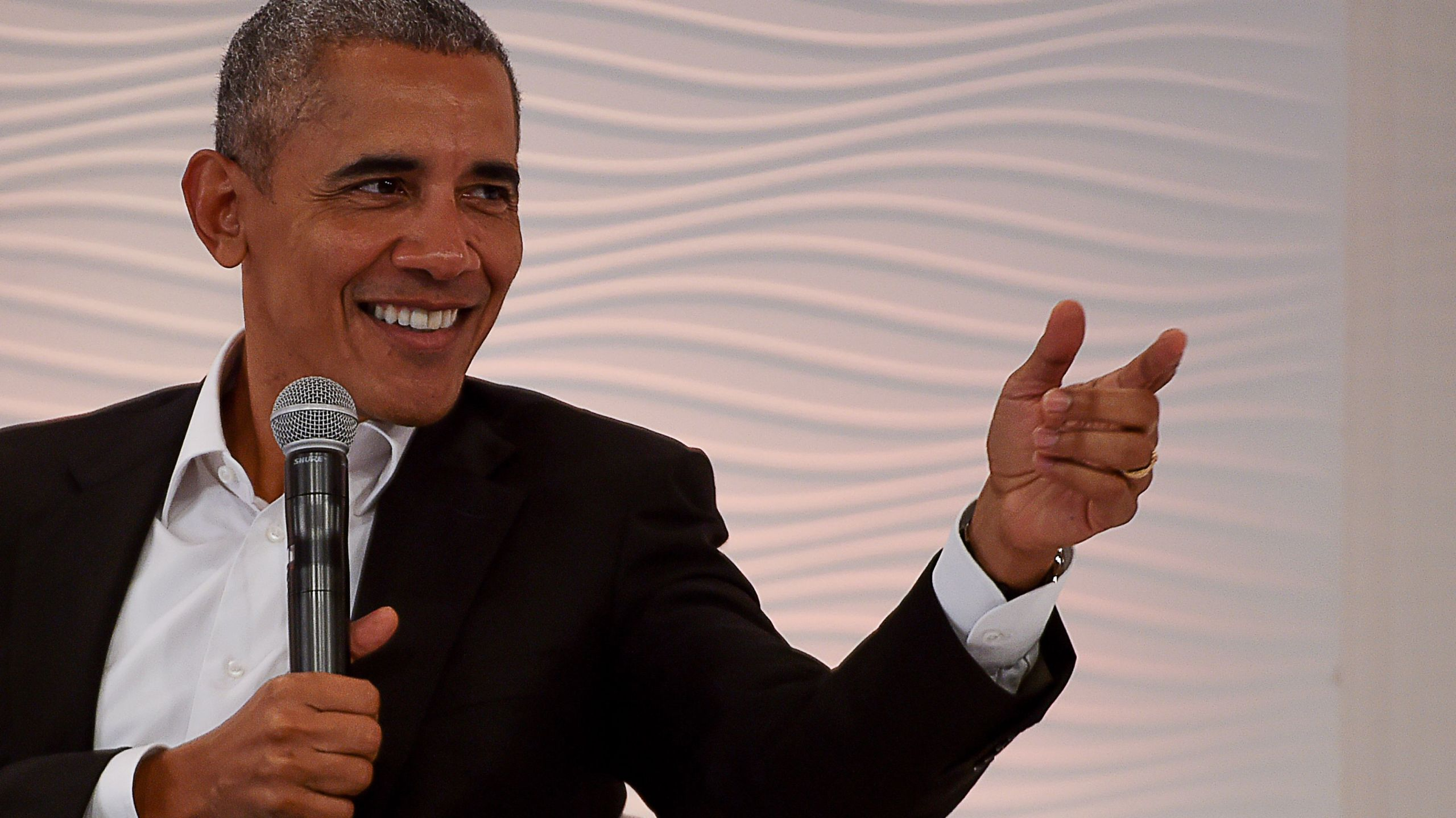 Former President Barack Obama speaks during his address at the Hindustan Times Leadership Summit in the Indian capital New Delhi on Dec. 1, 2017. (Credit: MONEY SHARMA/AFP/Getty Images)