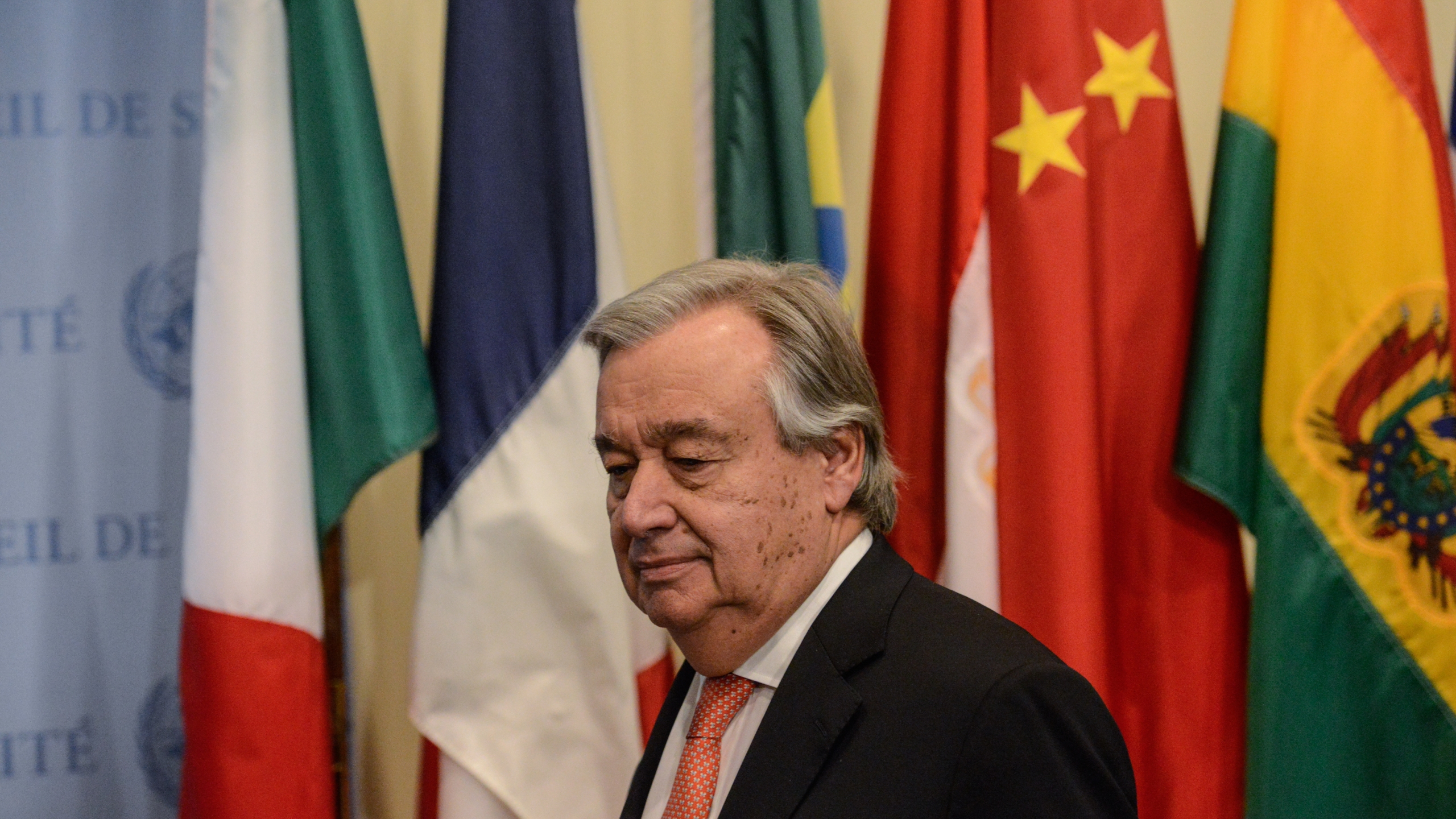 United Nations Secretary General António Guterres arrives to deliver remarks to the press at the U.N. headquarters on Dec. 6, 2017 in New York City. (Credit: Stephanie Keith/Getty Images)