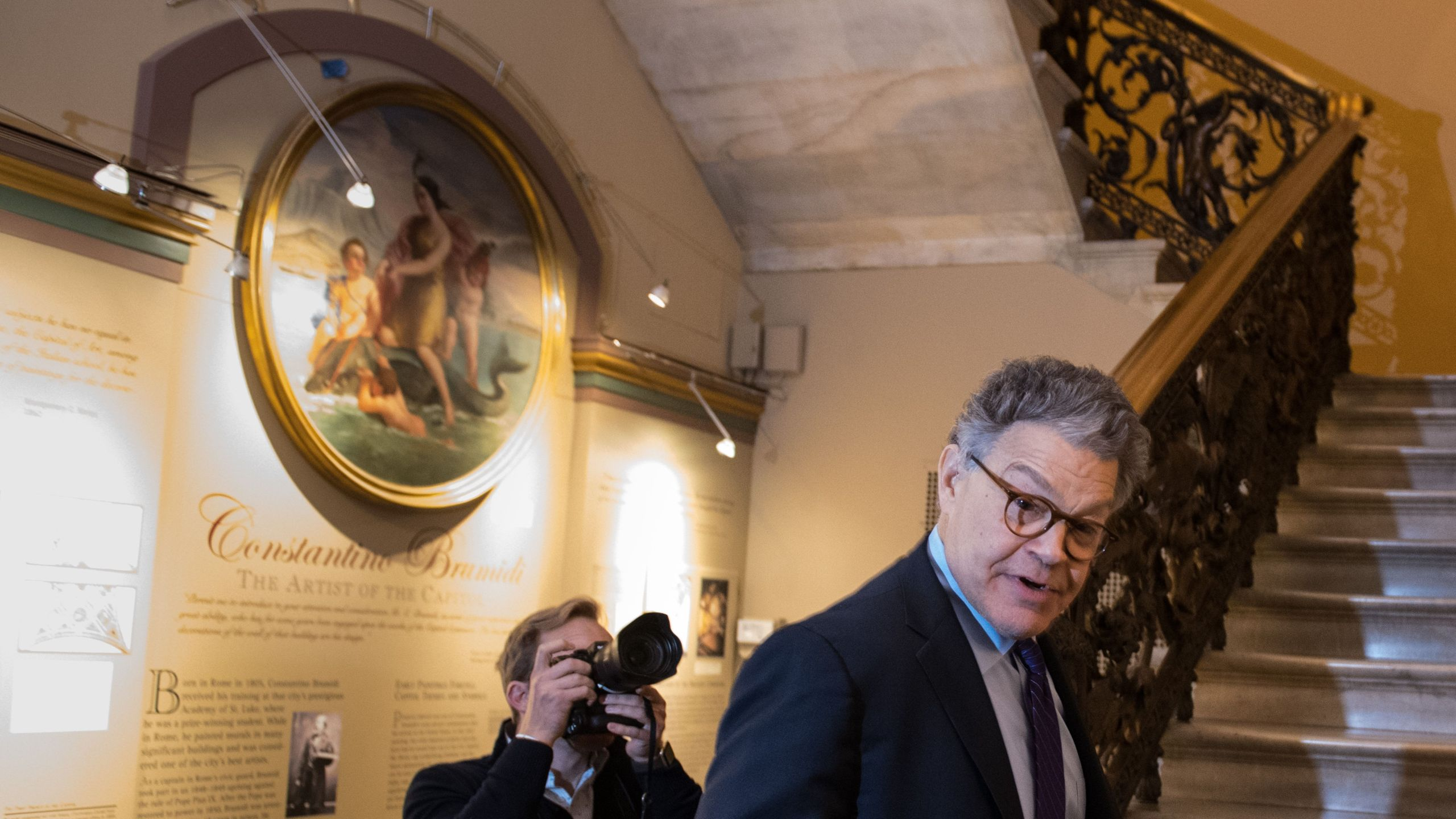 Senator Al Franken, D-MN, arrives at the Capitol on December 7, 2017. (Credit: Mandel Ngan/AFP/Getty Images)