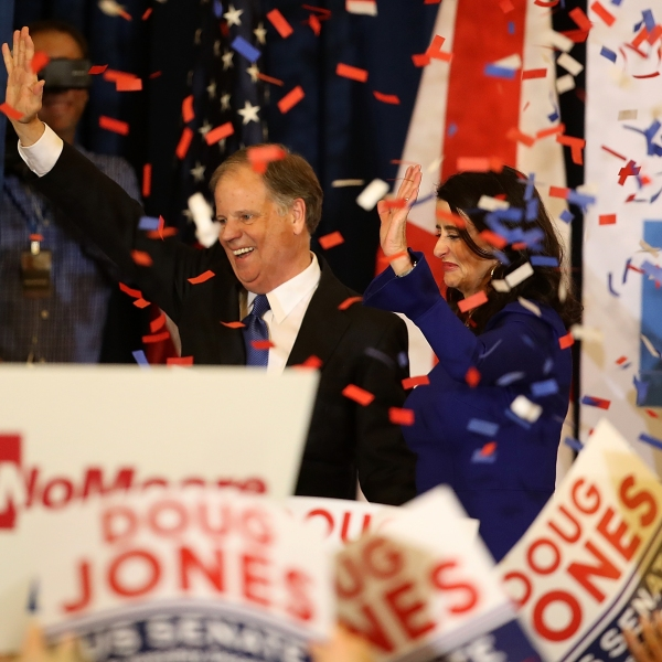 Senator-elect Doug Jones and wife Louise Jones greet supporters during his election night gathering the Sheraton Hotel on Dec. 12, 2017, in Birmingham, Alabama. (Credit: Justin Sullivan/Getty Images)