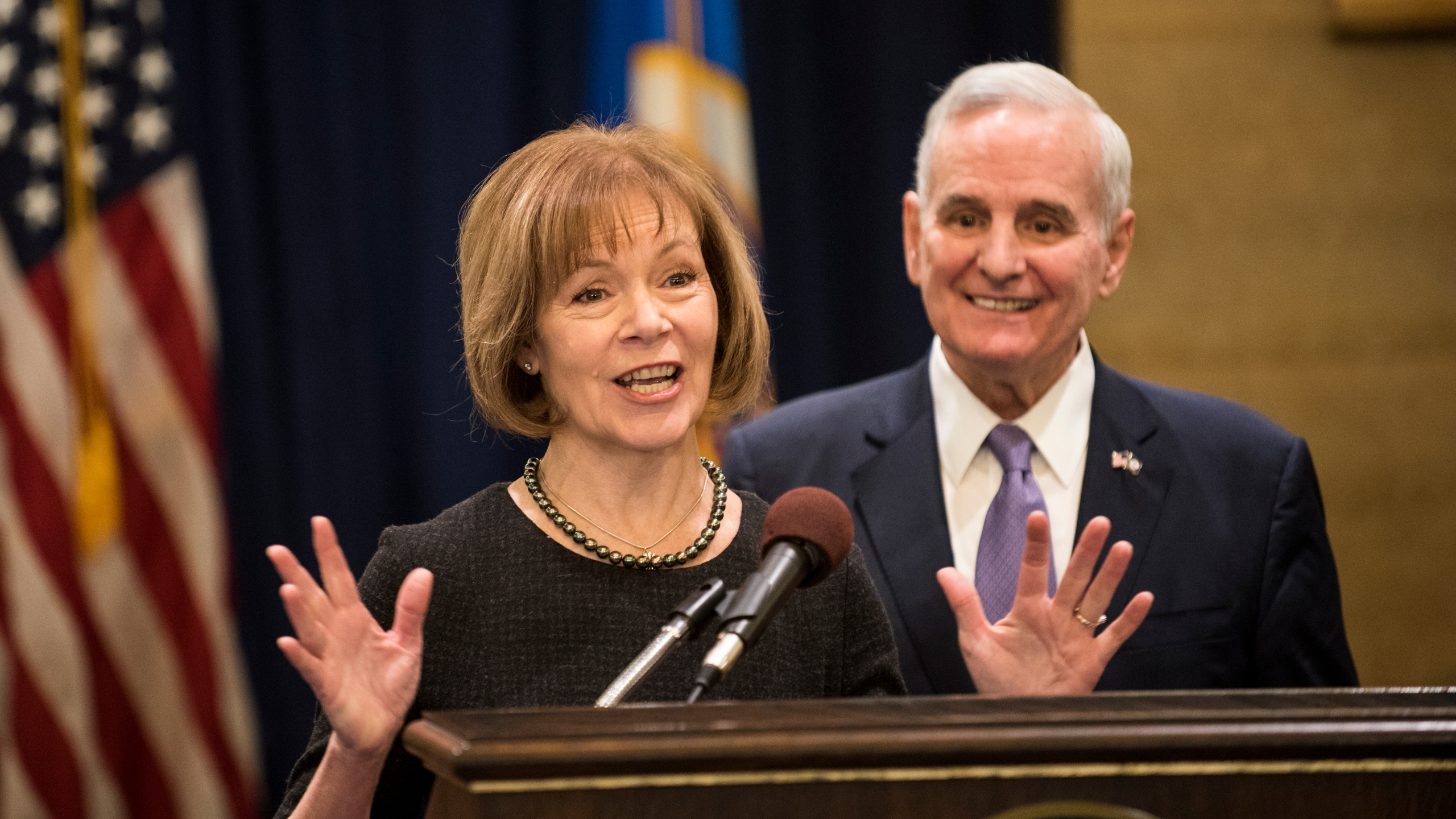 Minnesota Lt. Gov. Tina Smith fields questions after being named the replacement to Sen. Al Franken by Gov. Mark Dayton on Dec. 13, 2017, at the Minnesota State Capitol in St. Paul. (Credit: Stephen Maturen / Getty Images)