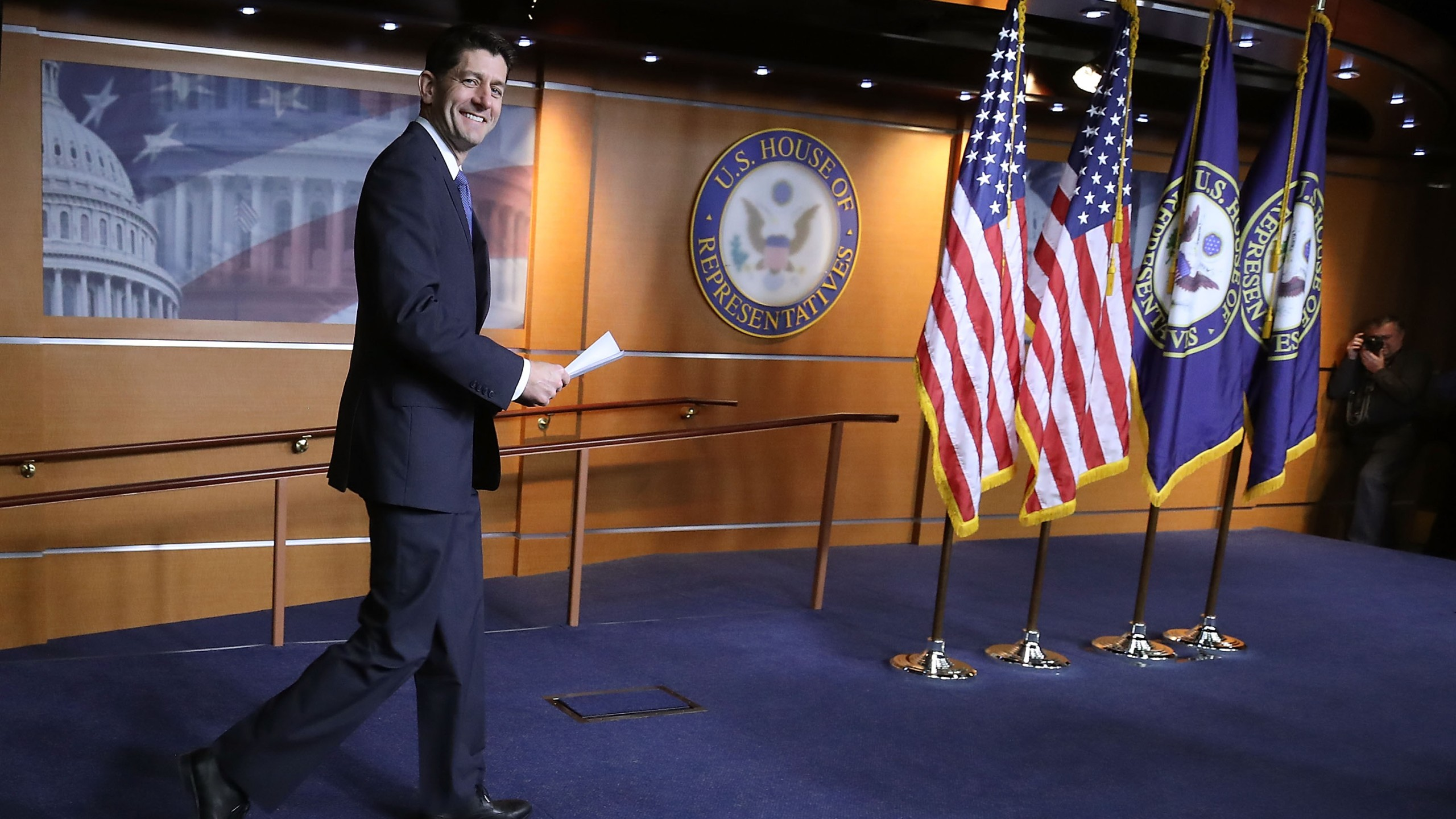 House Speaker Paul Ryan arrives to speak about the Republican tax reform legislation currently before Congress, during his weekly briefing on Capitol Hill Dec. 14, 2017. (Credit: Mark Wilson/Getty Images)
