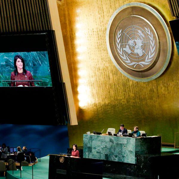 United States Ambassador to the United Nations, Nikki Haley, addresses the General Assembly prior to the vote on Jerusalem, on Dec. 21, 2017. (Credit: Eduardo Munoz Alvarez/AFP/Getty Images)