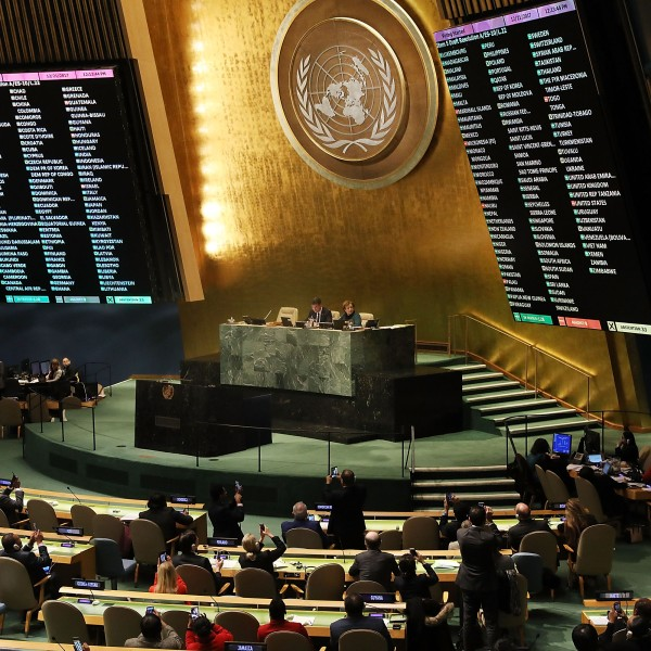 The voting results are displayed on the floor of the United Nations General Assembly on December 21, 2017 in New York City. (Credit: Spencer Platt/Getty Images)