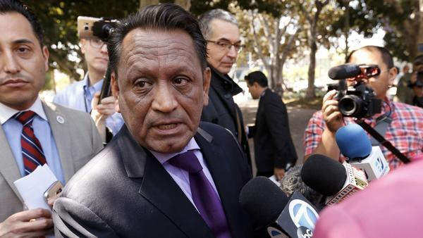 "A committee led by L.A. Councilman Gil Cedillo, seen in September, backed a plan Thursday to call L.A. a ""city of sanctuary"" and require businesses that have city contracts to reveal whether they are working on President Trump's proposed wall. (Credit: Al Seib / Los Angeles Times)"