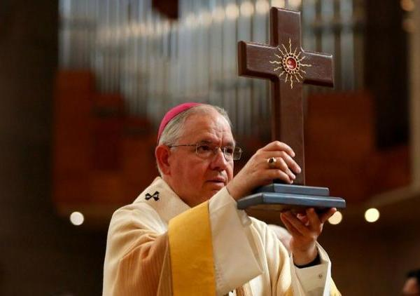 L.A. Archbishop Jose Gomez will lead a bilingual Christmas Eve mass at Our Lady of Angels cathedral in downtown L.A. (Credit: Gary Coronado/ Los Angeles Times)