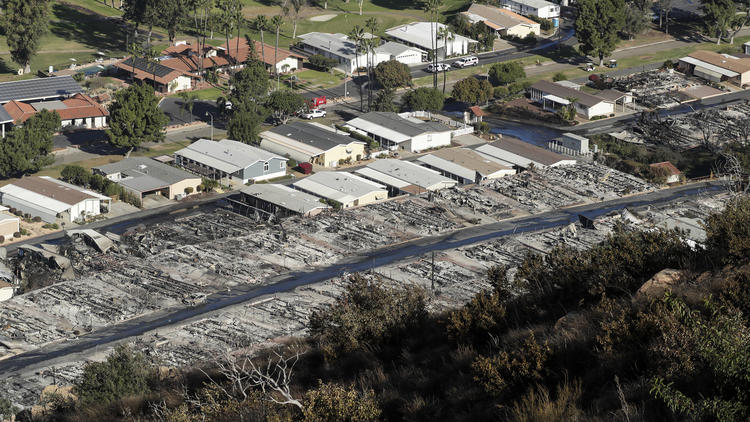 A view of the Rancho Monserate Country Club community, where many homes were burned to the ground when the Lilac Fire swept through Bonsall. (Credit: Irfan Khan / Los Angeles Times)