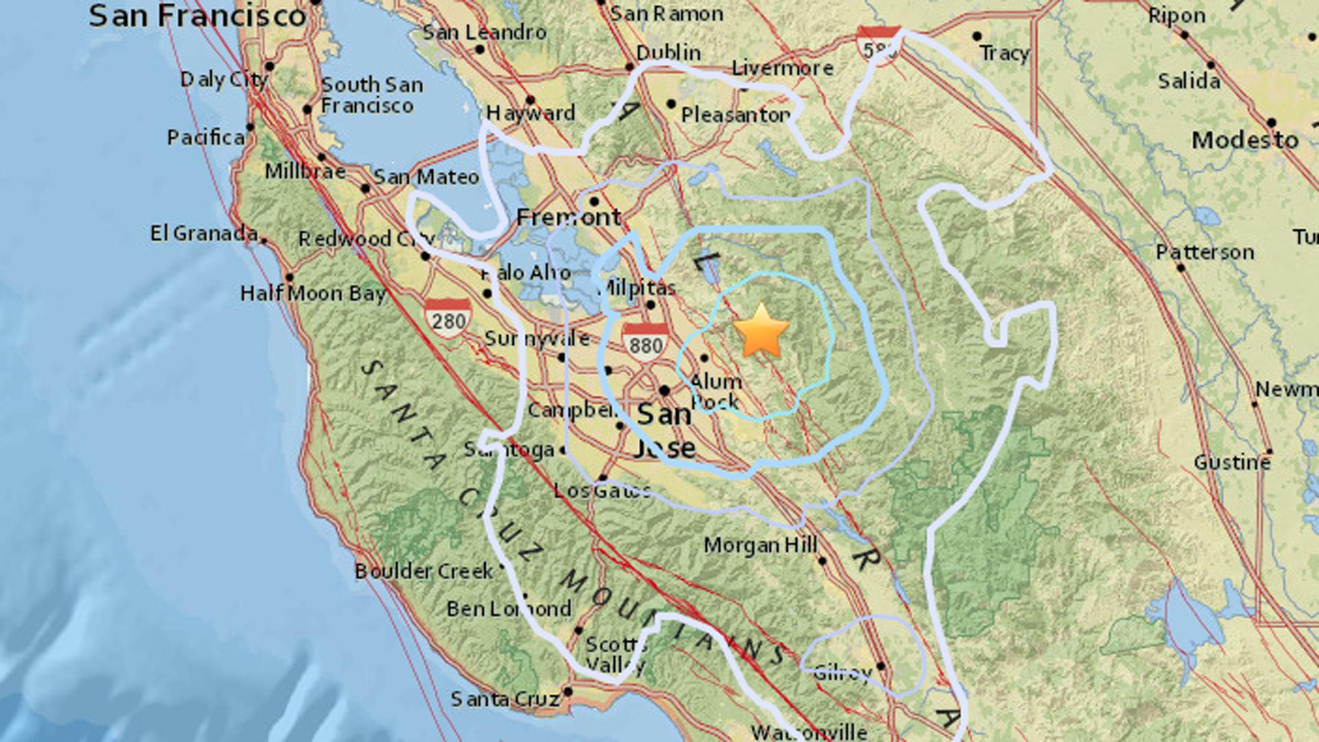 An earthquake struck near San Jose on Dec. 26, 2017. (Credit: USGS)