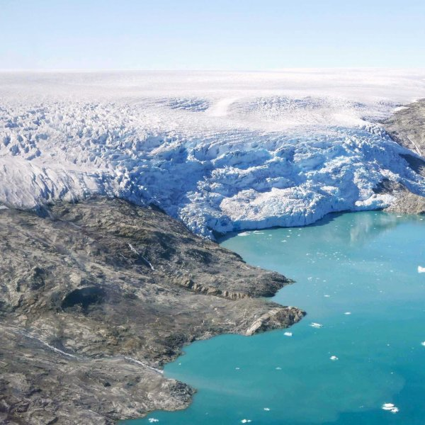 Ice flows from Helheim Glacier into Sermilik Fjord, in eastern Greenland. (Credit: Christian Steib/CNN)