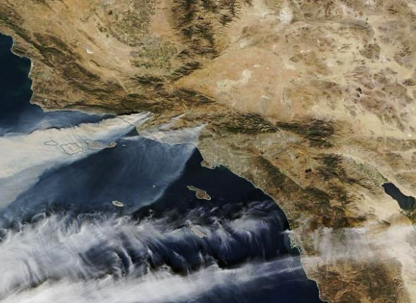 California wildfires as seen from space on Dec. 5, 2017. (Credit: NASA)