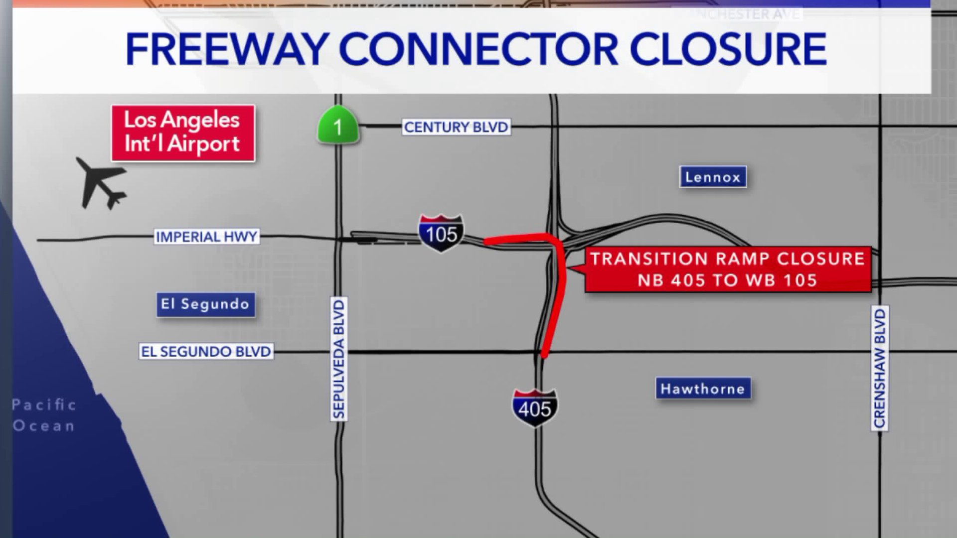 The 405 to 105 Freeway connector near Los Angeles International Airport closed Tuesday night for what is a planned monthslong project. (Credit: KTLA)