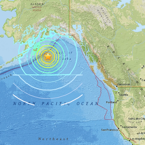 A magnitude-7.9 earthquake detected in the Gulf of Alaska has triggered tsunami warnings in Alaska and tsunami watches across several Western states. (Credit: USGS)