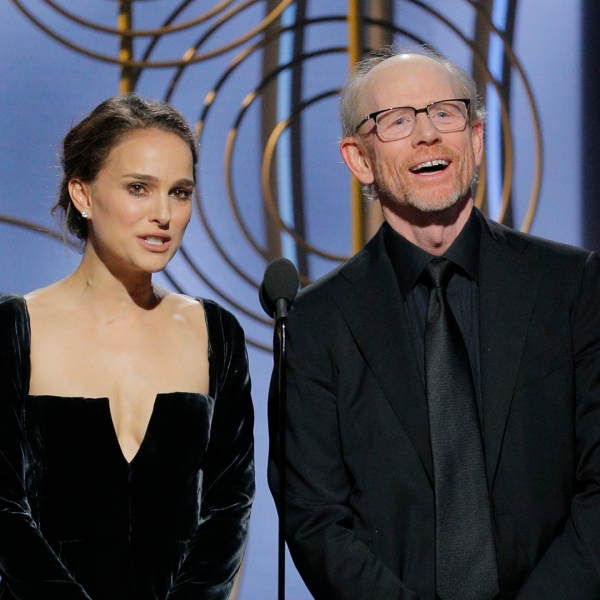 Presenters Natalie Portman and Ron Howard speak onstage during the 75th Annual Golden Globe Awards at The Beverly Hilton Hotel on Jan. 7, 2018 (Credit: Paul Drinkwater/NBCUniversal via Getty Images)