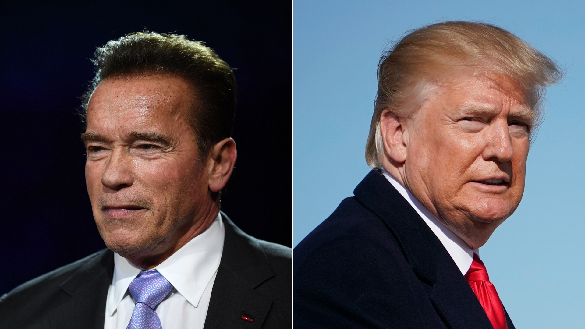 Left, former California Gov. Arnold Schwarzenegger speaks during a panel conference at the One Planet Summit on Dec. 12, 2017. President Donald Trump makes his way to board Air Force One before departing from Andrews Air Force Base on Jan. 18, 2018. (Credit: ERIC FEFERBERG/AFP/Getty Images and MANDEL NGAN/AFP/Getty Images)