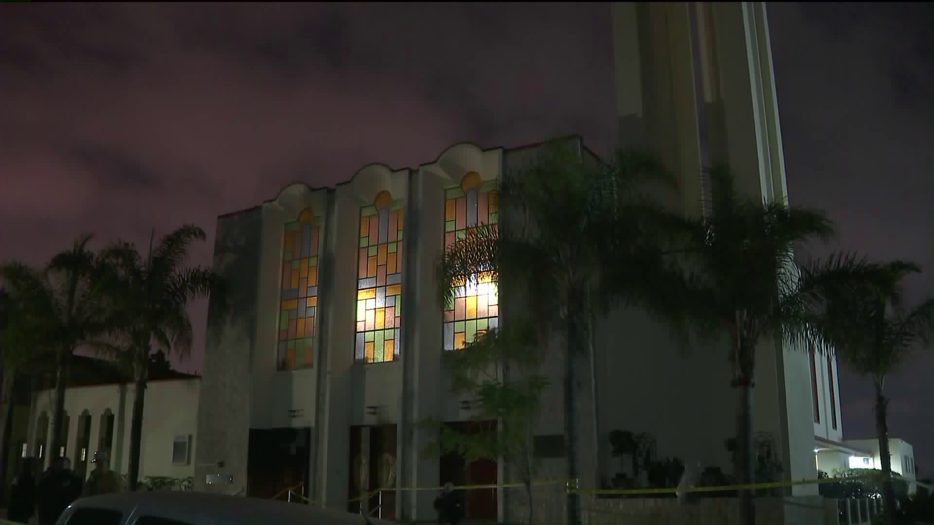 A Catholic Church in Boyle Heights is seen after it was burned in a fire on Jan. 25, 2018. (Credit: KTLA)