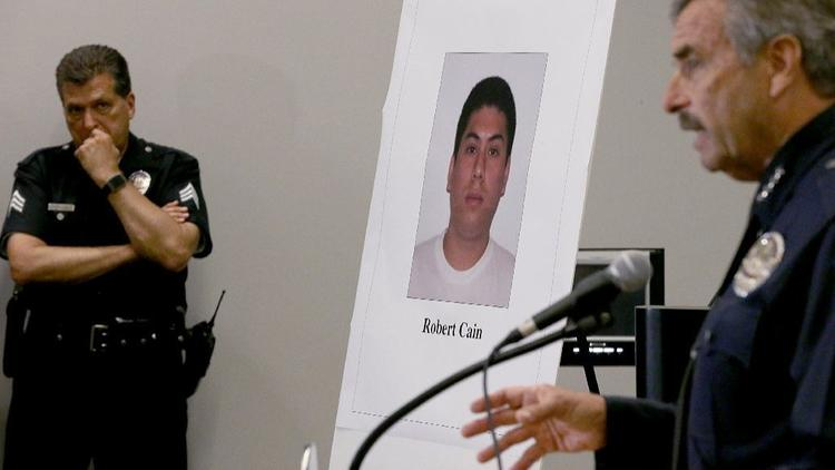 Los Angeles Police Chief Charlie Beck discusses the arrest of Robert Cain on June 22, 2017. (Credit: Allen J. Schaben/ Los Angeles Times)