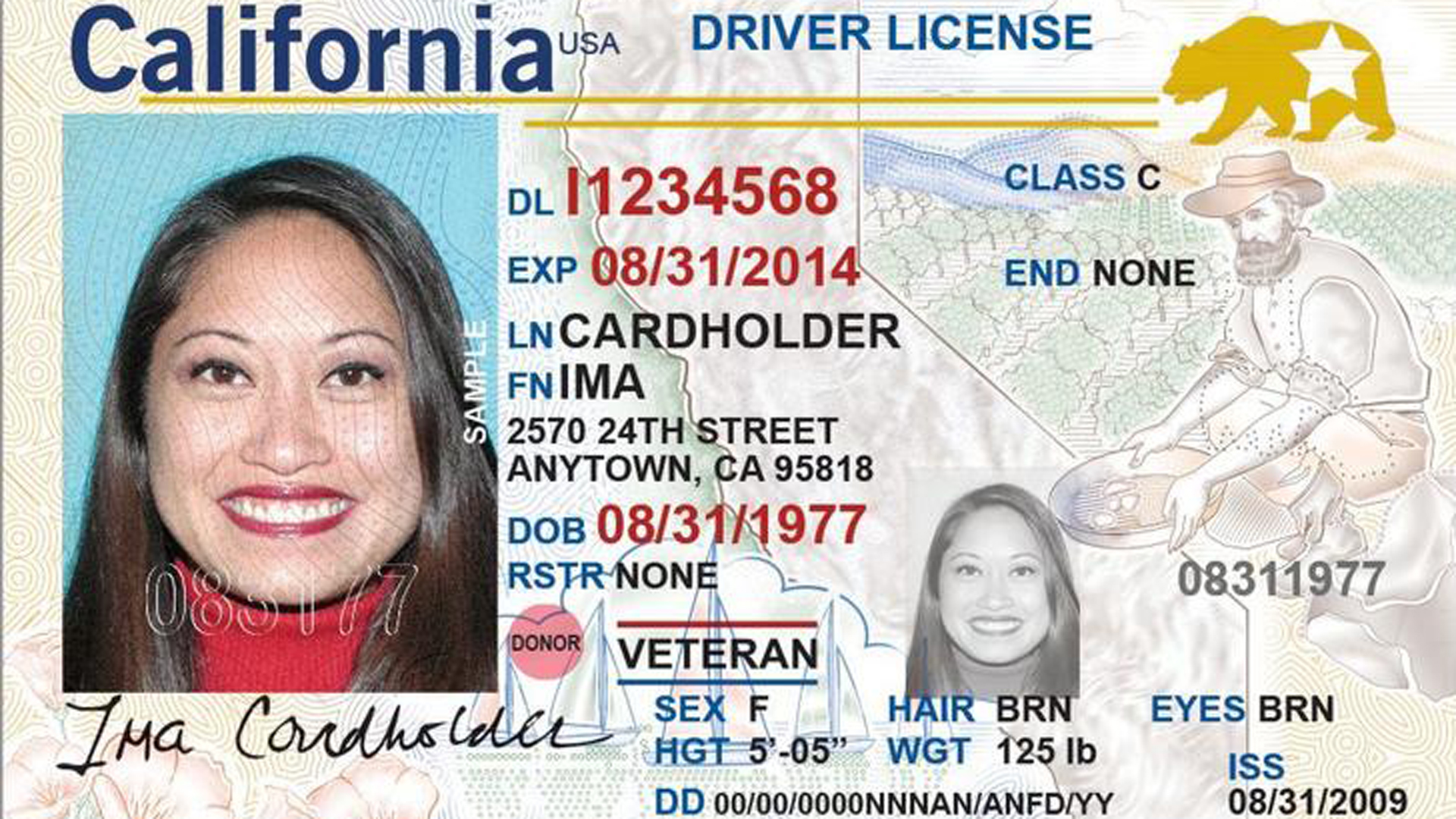 A sample of a California Real ID is seen in a photo from the DMV's website.