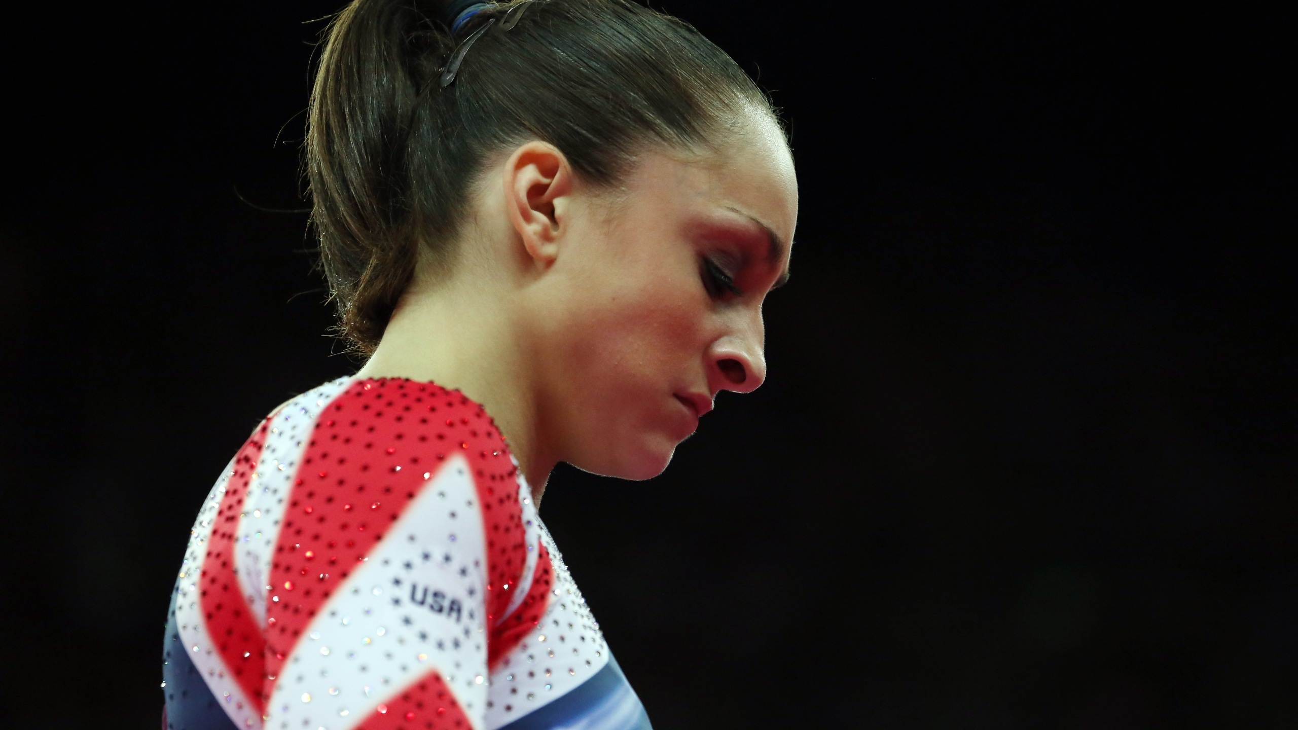 Jordyn Wieber of the United States of America reacts after she competes during the Artistic Gymnastics Women's Floor Exercise final on Day 11 of the London 2012 Olympic Games at North Greenwich Arena on August 7, 2012 in London, England. (Credit: Ronald Martinez/Getty Images)