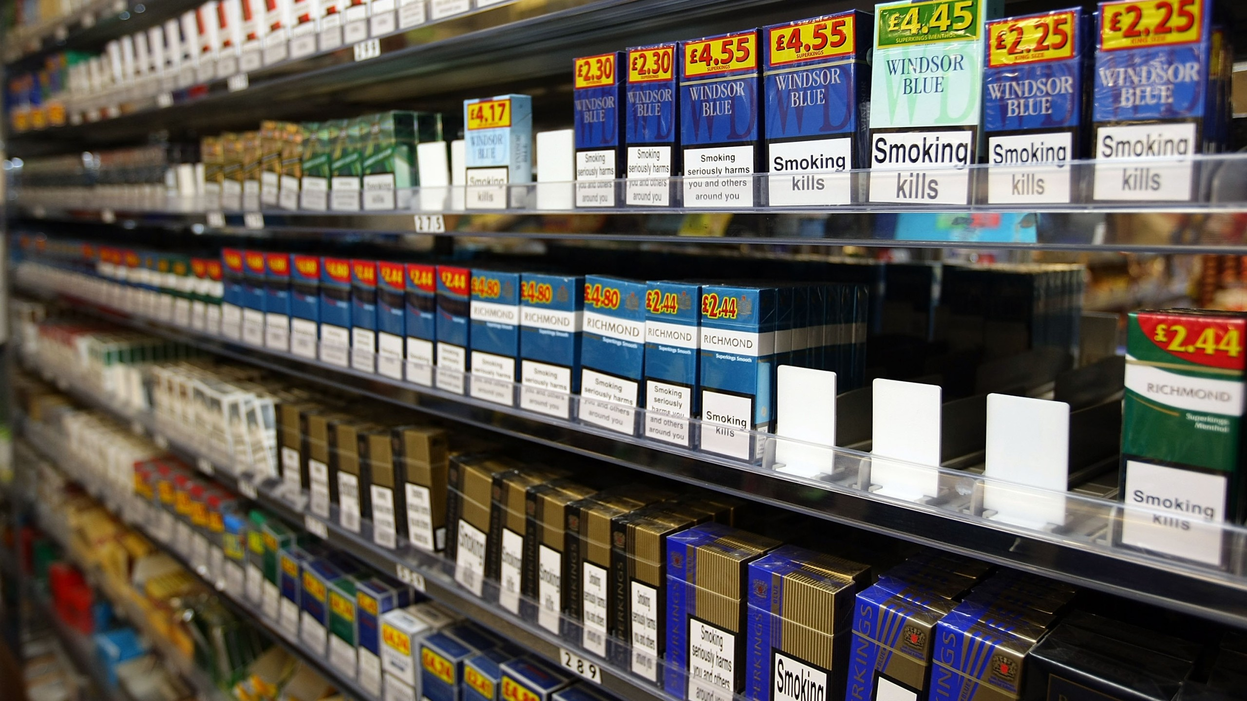 Cigarettes and tobacco are on display in a store in Liverpool, England on December 9, 2008. (Credit: Christopher Furlong/Getty Images)