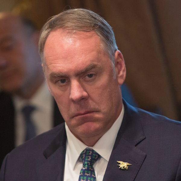 U.S. Secretary of the Interior Ryan Zinke listens during a Cabinet meeting at the White House December 20, 2017 in Washington, DC. (Credit: Chris Kleponis-Pool/Getty Images)