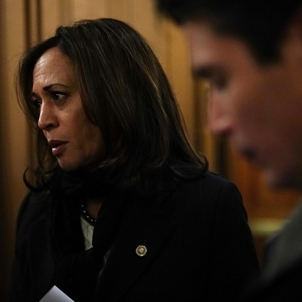 Sen. Kamala Harris speaks to members of the media after a vote to fund the government Dec. 21, 2017, at the Capitol in Washington, D.C. (Credit: Alex Wong/Getty Images)