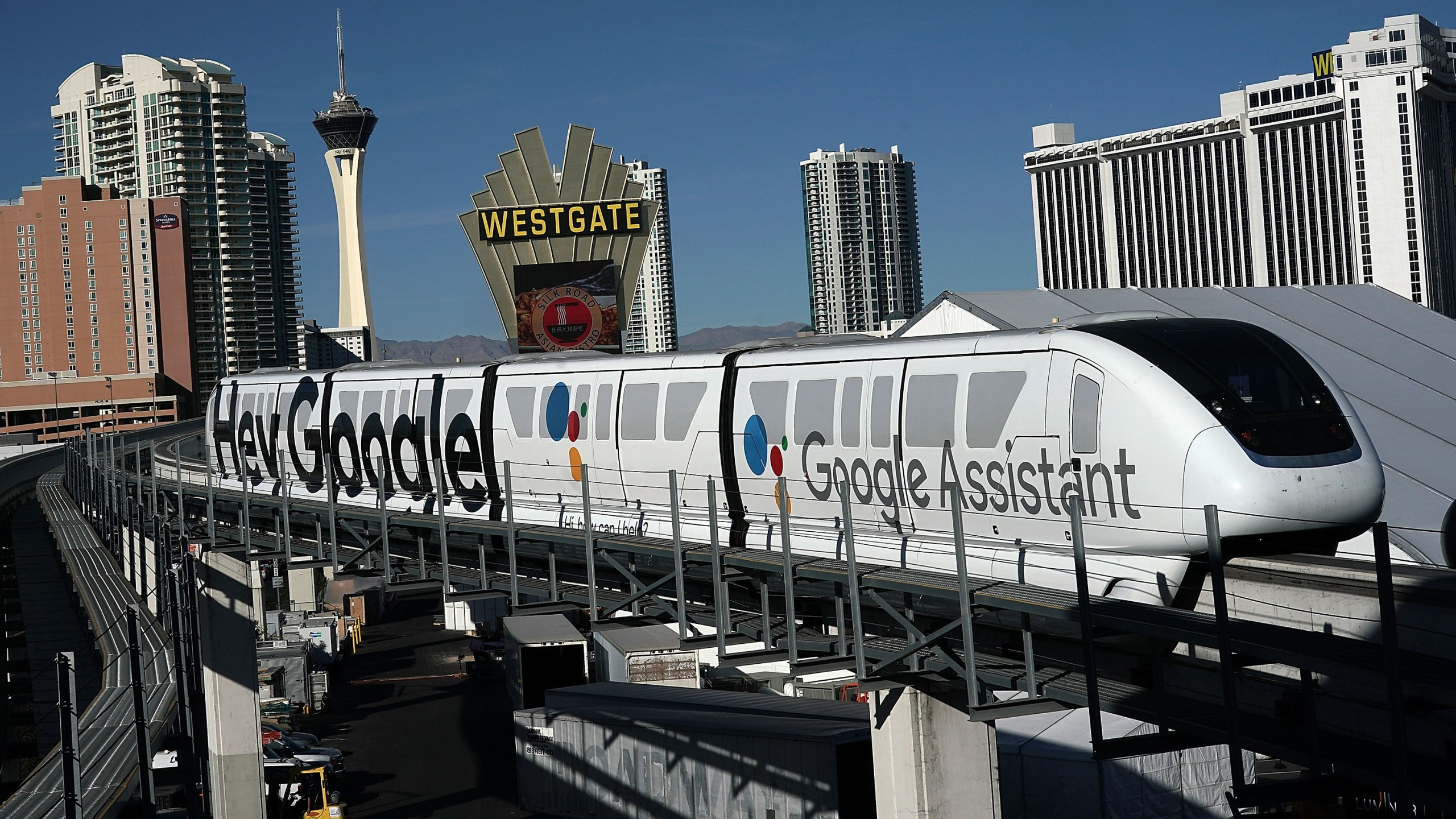 A Las Vegas Monorail car with a Google ad is seen running prior to the CES 2018 on Jan. 7, 2018. (Credit: Alex Wong/Getty Images)