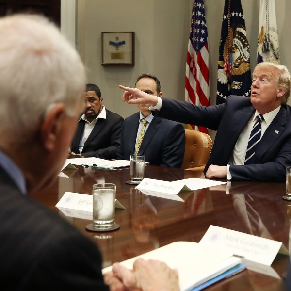 President Donald Trump speaks during a prison reform roundtable in the Roosevelt Room at the White House, on Jan. 11, 2018. (Credit: Mark Wilson/Getty Images)