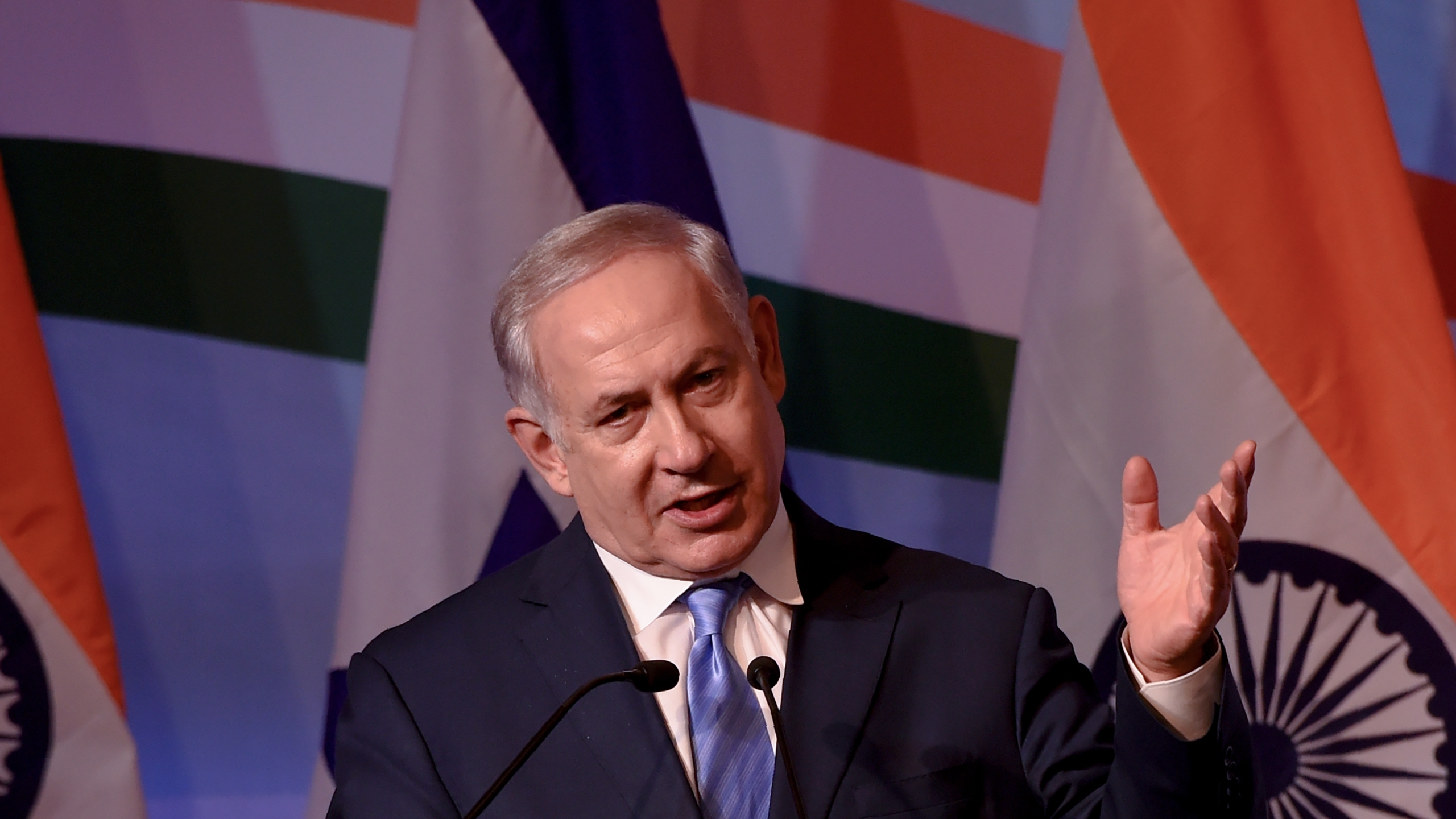 Israeli Prime Minister Benjamin Netanyahu gestures as he speaks during the India-Israel Business Summit in New Delhi on January 15, 2018. (Credit: MONEY SHARMA/AFP/Getty Images)