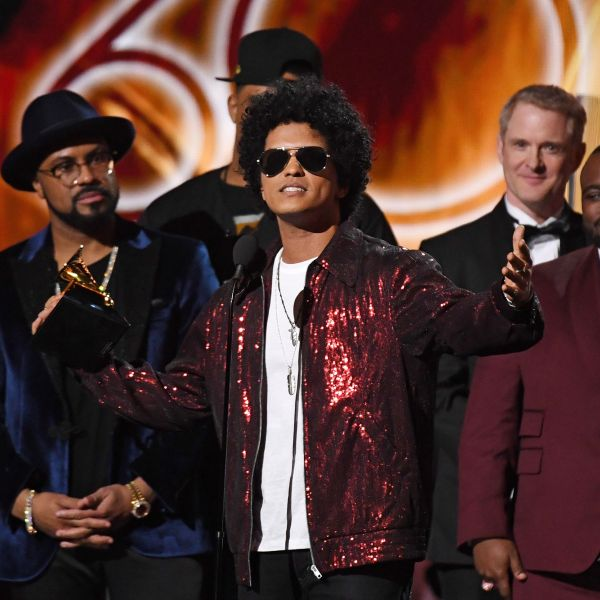 Bruno Mars receives his third Grammy for Album of the Year during the 60th Annual Grammy Awards show on Jan. 28, 2018, in New York. (Credit: Timothy A. Clary/AFP/Getty Images)