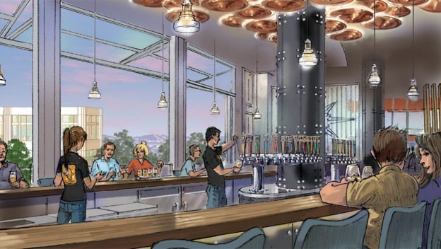 An artists' rendering of the new Ballast Point tap house located in Downtown Disney is seen in an artist's rendering released by the companies on Jan. 24, 2018.