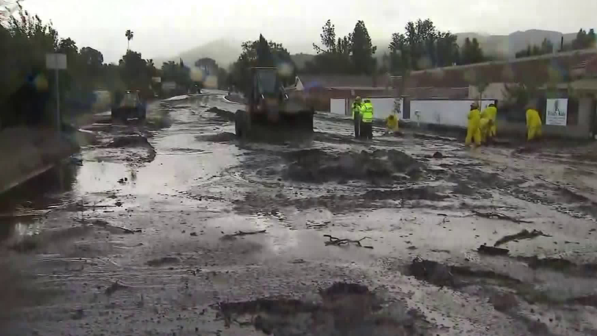 The area of La Tuna Canyon left scorched bare by wildfires was slammed with flows of mud and debris from a rainstorm on Jan. 9, 2018. (Credit: KTLA)