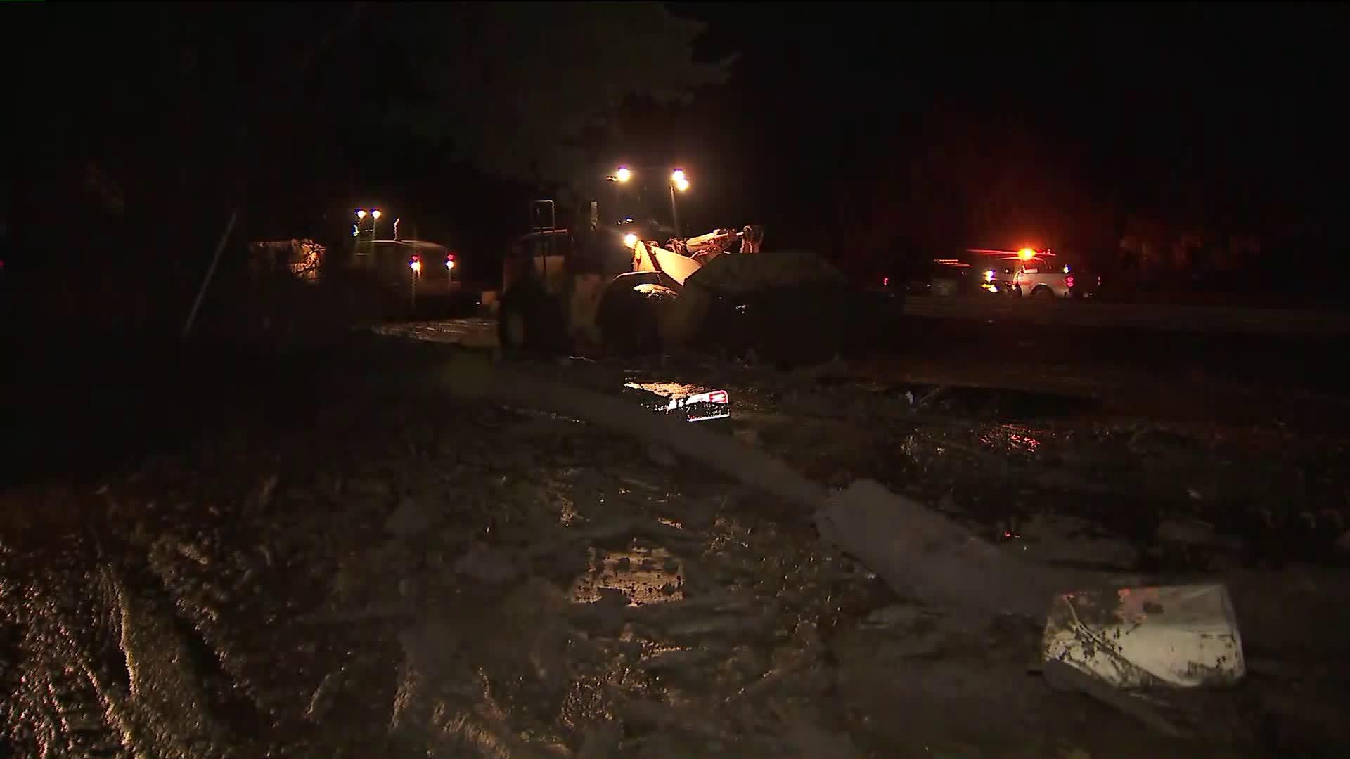 Crews were working to clean up roads in Montecito on Jan. 9, 2018. (Credit: KTLA)