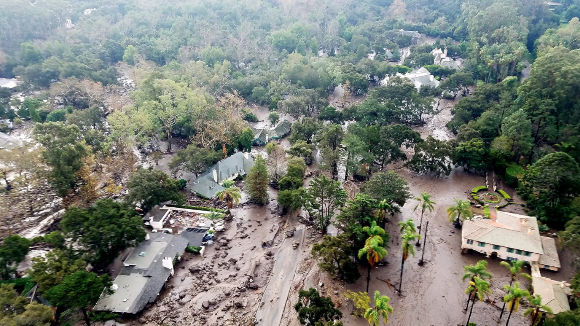 Aerial photos show the extent of the mudflow and damage in Montecito on Jan. 10, 2018, a day after slides and flooding hit. (Credit: Matt Udkow/Santa Barbara County Fire Department)