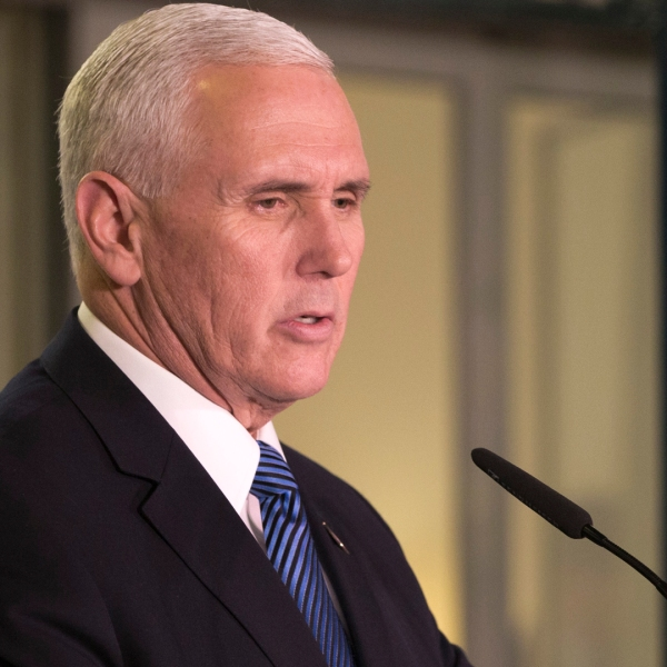 U.S. Vice President Mike Pence delivers a statement on Jan. 22, 2018, in the Prime Minister's residence in Jerusalem. (Credit: ARIEL SCHALIT/AFP/Getty Images)