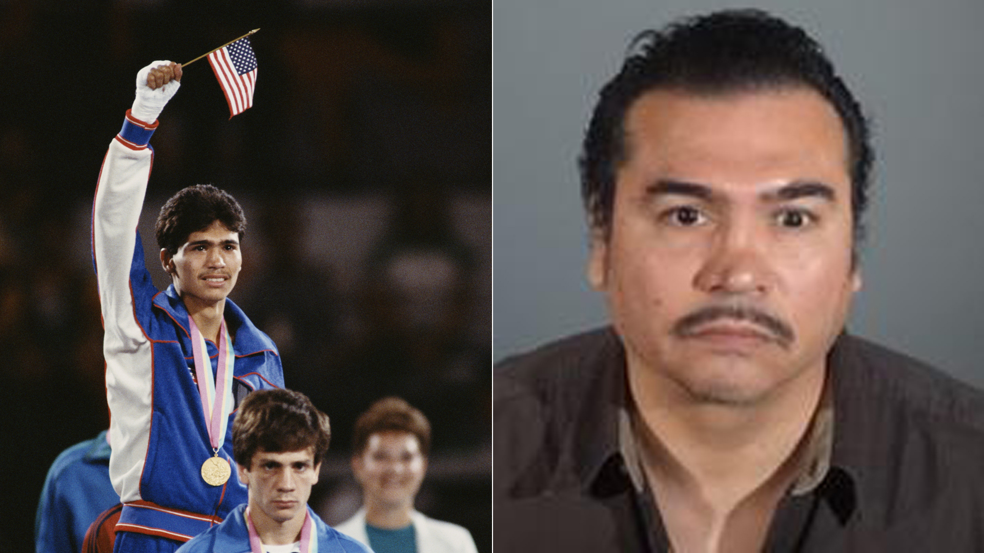 Paul Gonzales is seen in a file photo from the 1984 Olympics and in a mugshot released by authorities. (Credit: Getty Images / L.A. County Sheriff's Department)