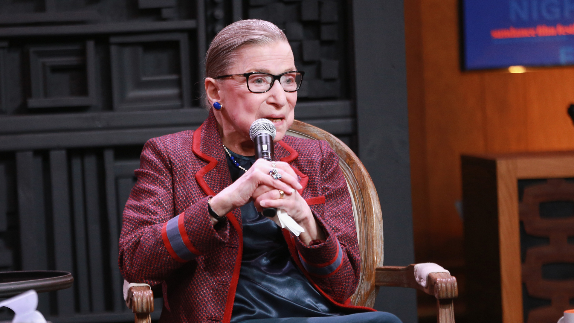 Ruth Bader Ginsburg speaks during the Cinema Cafe with Justice Ruth Bader Ginsburg and Nina Totenberg during the 2018 Sundance Film Festival at Filmmaker Lodge on January 21, 2018 in Park City, Utah. (Credit: Robin Marchant/Getty Images)