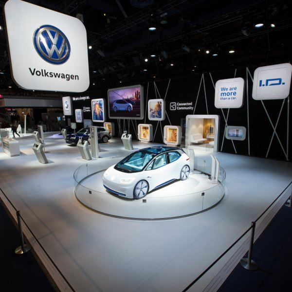 A Volkswagon car at CES in 2017. (Credit: Friso Gentsch/Volkswagen)