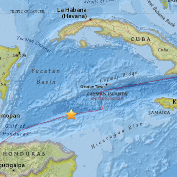 A magnitude 7.6 earthquake struck off of Honduras on Jan. 9, 2018. (Credit: U.S. Geological Survey)