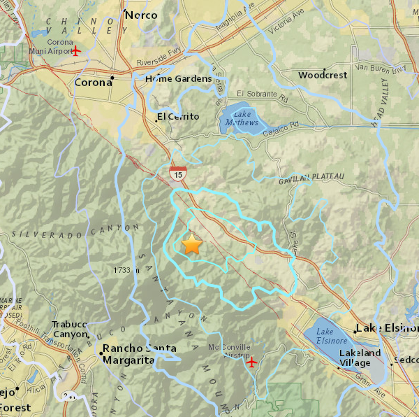 A 3.4 magnitude earthquake struck near El Cerritos on Jan. 27, 2018. (Credit: USGS)