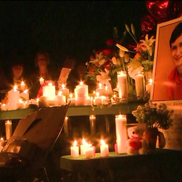 Hundreds attended a candlelight vigil for Blaze Bernstein on Jan. 10, 2018. (Credit: KTLA)