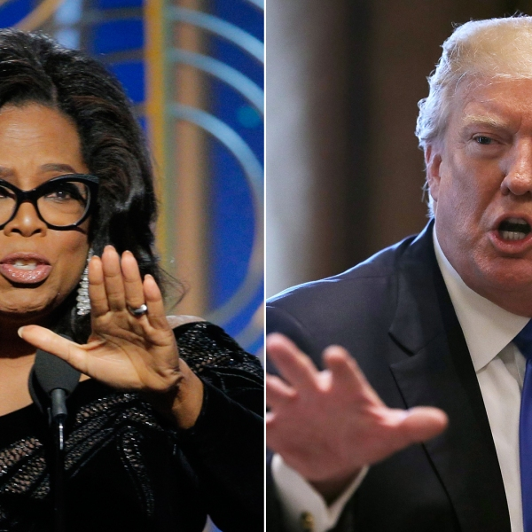Left, Oprah Winfrey accepts the 2018 Cecil B. DeMille Award during the 75th Annual Golden Globe Awards at the Beverly Hilton Hotel on Jan. 7, 2018. Right, President Donald Trump presides over a meeting about immigration with members of Congress at the White House Jan. 9, 2018. (Credit: left, Paul Drinkwater/NBCUniversal via Getty Images; right, Chip Somodevilla/Getty Images)