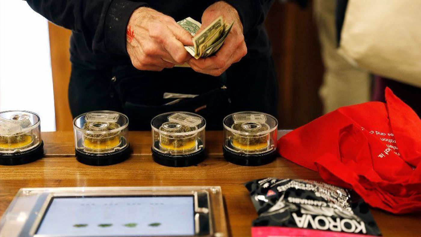 A customer shops at marijuana dispensary MedMen in West Hollywood in January. (Credit: Christina House / Los Angeles Times)
