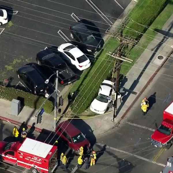 A crash left seven people injured in Cypress Park on Feb. 23, 2018. (Credit: KTLA)