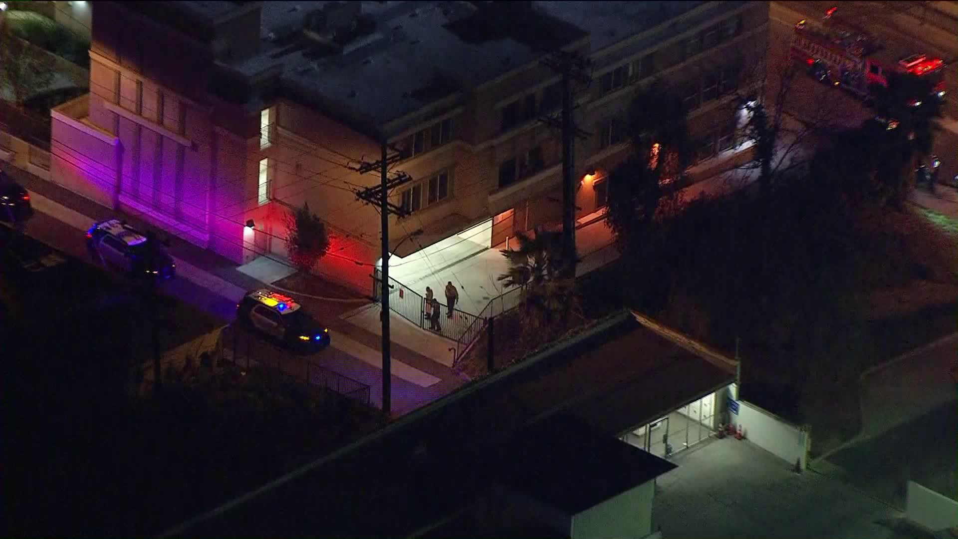 Authorities respond to the scene where a man was shot by L.A. County sheriff's deputies in East Los Angeles on Feb. 6, 2018. (Credit: KTLA)