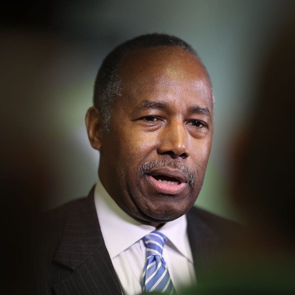 Housing and Urban Development Secretary Ben Carson speaks to the media during a visit to the Liberty Square apartment complex in Miami, Florida, on April 12, 2017. (Credit: Joe Raedle / Getty Images)