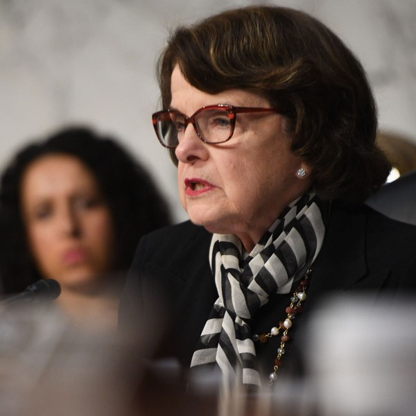 Sen. Dianne Feinstein speaks during a hearing on May 8, 2017 on Capitol Hill in Washington, D.C. (Credit: JIM WATSON/AFP/Getty Images)