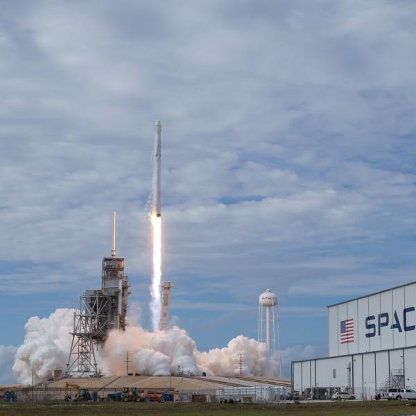 The SpaceX Falcon 9 rocket launches from NASA's Kennedy Space Center on June 3, 2017 in Cape Canaveral, Florida. (Credit: Bill Ingalls/NASA via Getty Images)