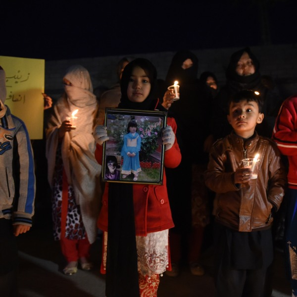 Pakistani members of the Hazara community hold a vigil in tribute to Zainab, who was raped and murdered in the city of Kasur in Punjab province, in Quetta on Jan. 11, 2018. (Credit: Banaras Khan / AFP / Getty Images)