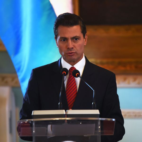 Mexican President Enrique Pena Nieto speaks at a ceremony at the presidential palace in Asuncion on Jan. 18, 2018, during a two-day visit to Paraguay. (Credit: NORBERTO DUARTE/AFP/Getty Images)