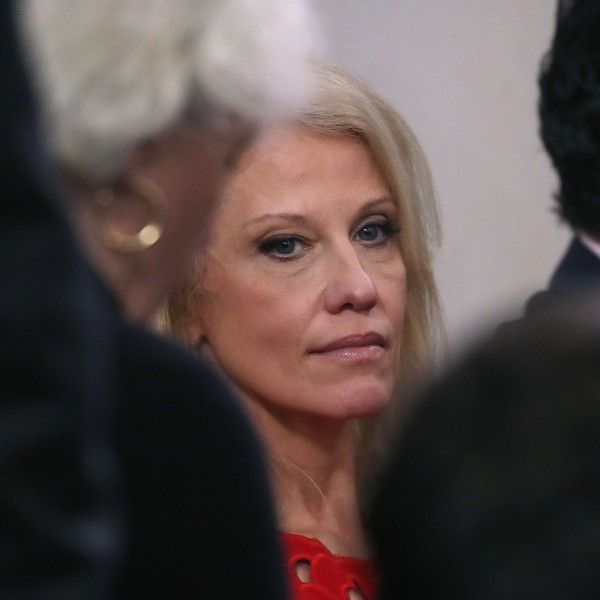 Kellyanne Conway attends a media briefing at the White House on Jan. 23, 2018. (Credit: Mark Wilson/Getty Images)